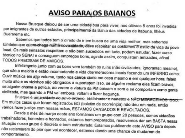 Carta ameaça de MORTE baianos moradores de cidade em Santa Catarina [ATUALIZADO CARTA COMPLETA]