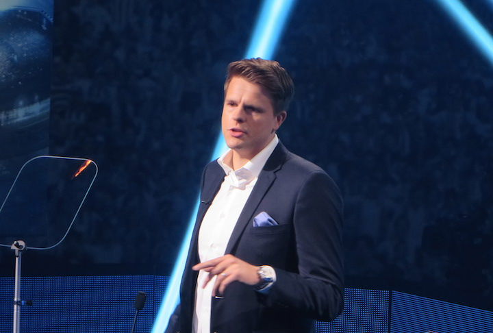 Jake Humphrey welcomes the press to BT's new TV announcement. Image: SEENIT
