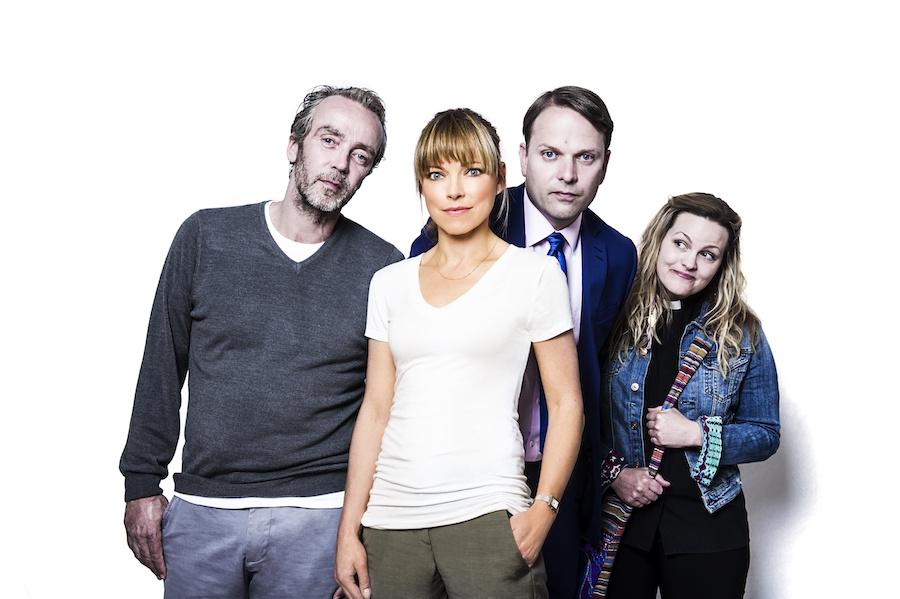Picture Shows: John Hannah as Adam, Sarah Alexander as Marley, Nicholas Burns as Michael, Jo Joyner as the vicar