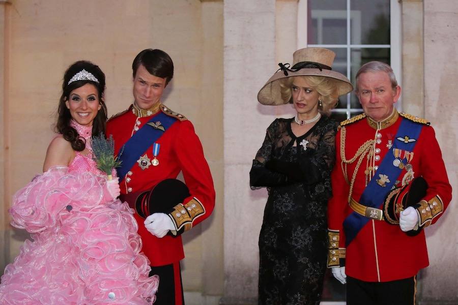 Kate (LOUISE FORD) , William (HUGH SKINNER), Camilla (HAYDN GWYNNE) and Charles (HARRY ENFIELD). Image: Channel 4