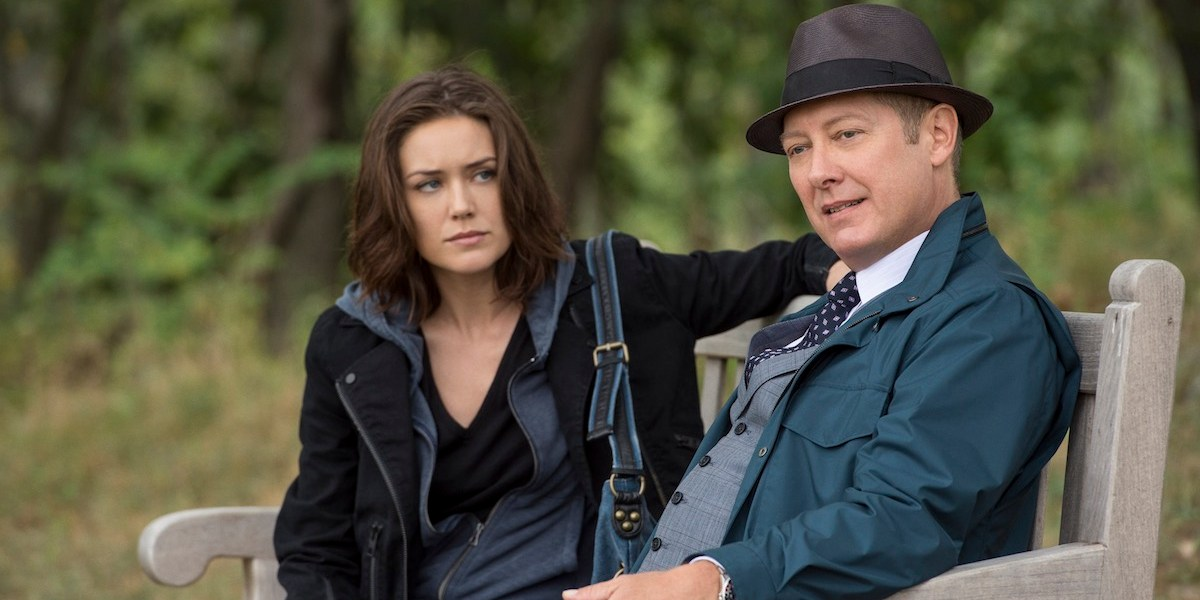 "James Spader as Ryamond ""Red"" Reddington Megan Boone as Elizabeth Keen in The Blacklist. Image: © Sony Pictures Television."