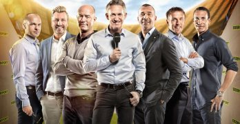 Danny Murphy, Robbie Savage, Alan Shearer, Gary Lineker, Ruud Gullitt, Philip Neville, Rio Ferdinand. Image: BBC/Andrew Hayes-Watkins/Matthew Burlem