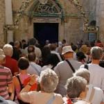 Ninth Station: Pilgrims outside Coptic Orthodox Patriarchate (Seetheholyland.net)