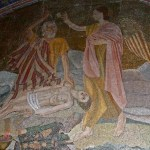 Tenth Station: Abraham preparing to kill Isaac, mosaic above window to Chapel of the Franks (Caleb Zahnd)