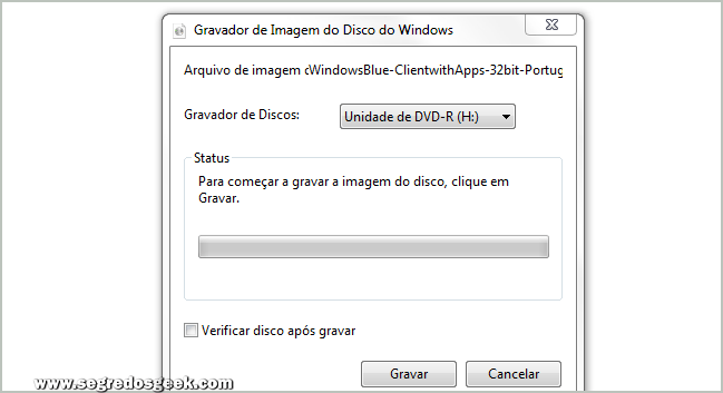 Gravador de Disco do Windows 7.