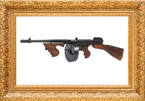 gold frame and thompson submachine gun