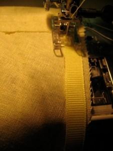 beginning the ribbon hem