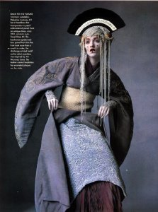 Queen Amidala's pre-senate grey cocoon-kimono costume.  Star Wars. yo!
