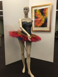 I finally finished Ye Olde Denim tutu and bodice. It's in a display of faculty work at the college (upstairs in the library).