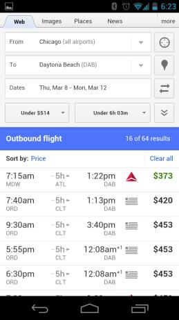 Mobile Flight Search von Google