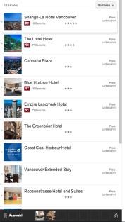 Suchergebnisliste im Google Hotelfinder