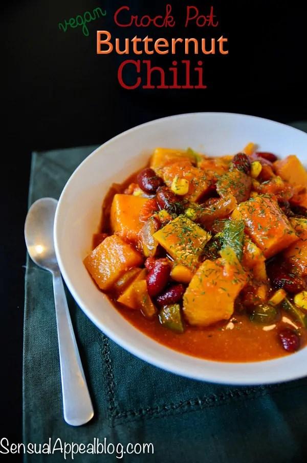 Vegan Butternut Chili - Healthy Crock Pot Recipe