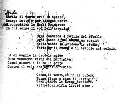 Testo originale dattiloscritto del Fischia il Vento con modifiche a penna