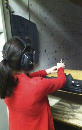 Jewess with a gun. Karen and I went to the shooting range last Sunday. It was packed. Karen was extremely accurate with a Ruger Vaquero.
