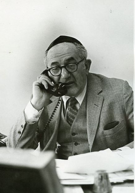 My father worked at Yeshiva University for over 30-years. He was Director of Community Service Division and Director of Alumni. This shot was taken in the early 50′s in his YU office. As a child, when my father took me to work I just loved watching him interact with students, Rabbis, and teachers. Every once in a while a student needed a loan. Most YU students were from modest homes. My father would shoo me out of the office when he made the interest free loans from a fund he administered. He didn't want to embarrass the student.