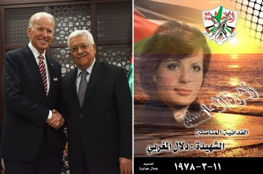 "U.S. Vice President Joe Biden visited Palestinian Authority President Mahmoud Abbas in Ramallah on March 10, hoping to persuade Abbas to issue a ""condemnation"" of the wave of terror attacks against Israelis. The next day, Abbas's Fatah party invited Palestinians to commemorate the 38th anniversary of the ""martyrdom"" of Dalal Al-Mughrabi. Al-Mughrabi was a Fatah member who participated in the 1978 Coastal Road massacre in Israel, in which 38 civilians were killed, including 13 children."