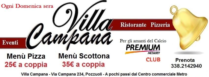 Villa Campana Pozzuoli - Domenica Menù pizza €25 a coppia