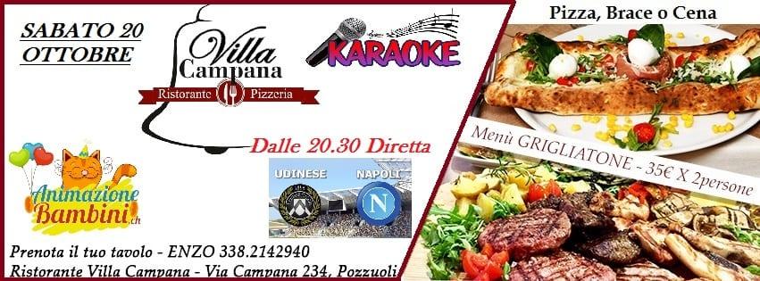 Villa CAMPANA Pozzuoli -Sabato 20 Pizza Brace e Diretta Napoli