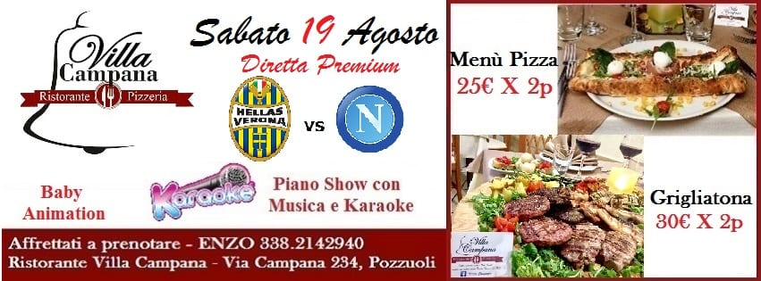 Villa Campana Pozzuoli - Sabato 19 Diretta Napoli Pizza e Karaoke