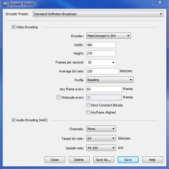 Wirecast encoder 6 - output settings - Standard preset