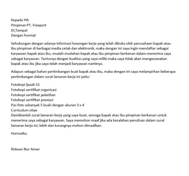 Surat lamaran kerja di perusahaan tambang