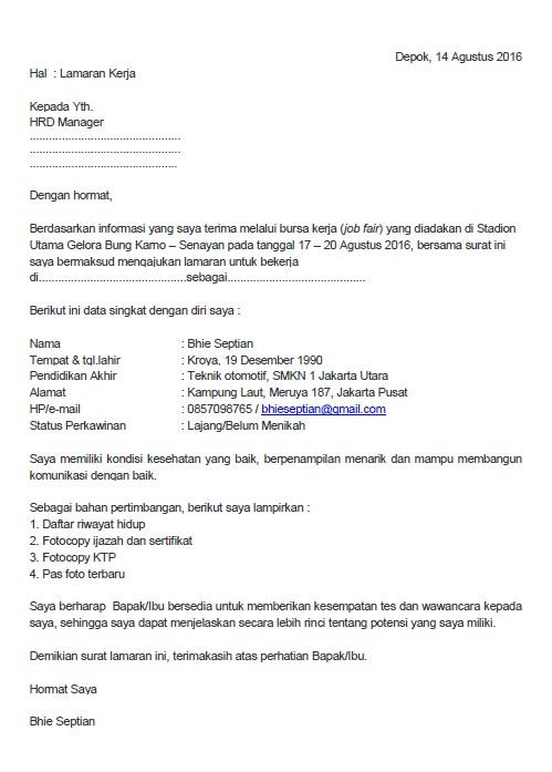 Surat Lamaran Kerja untuk Job Fair