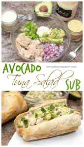 Kick up your Tuna Salad with some fresh avocado then use Homemade Mayo and slap it on a Homemade Baguette for a From Scratch Avocado Tuna Salad Sub!