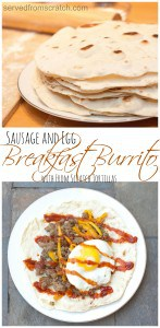 A homemade flour tortilla stuffed with Sausage, Peppers, and a perfectly runny yolked egg!  Breakfast Win!