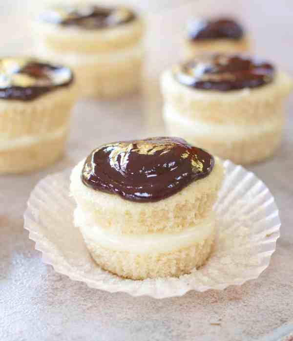 Boston Cream Pie made into a cupcake form with a from scratch vanilla pudding filling and homemade ganache!