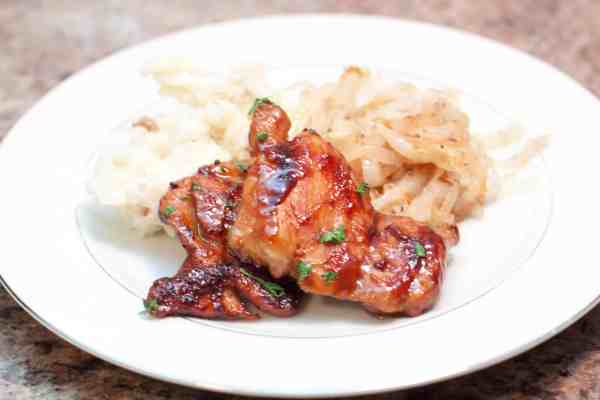 A slightly sweet, salty, and super fast Maple Soy Glazed Chicken Thighs - perfect for a quick weeknight meal