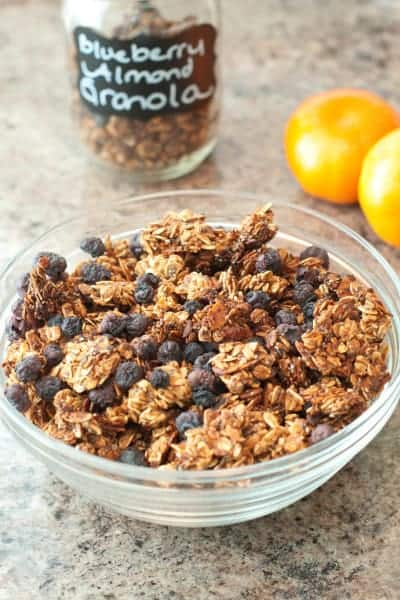 No oil added, vegan, and gluten free Blueberry Almond Granola from scratch