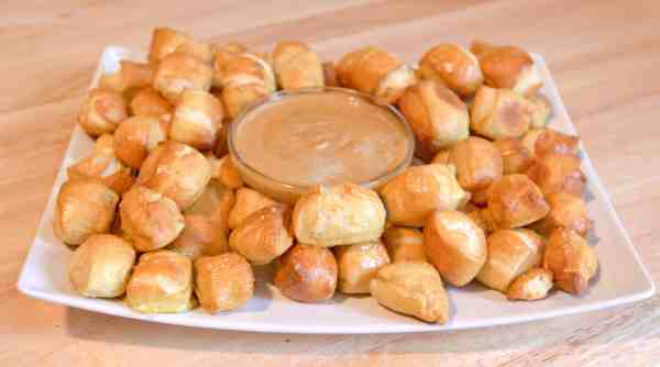 From Scratch Pretzel Bites with a Hot Honey Mustard dipping sauce!