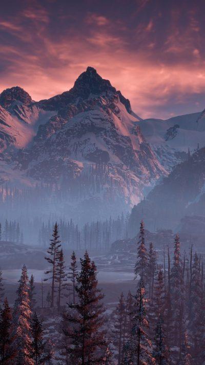 Horizon Zero Dawn Nature Mountains Trees Sky Yj Wallpaper - [2160x3840]