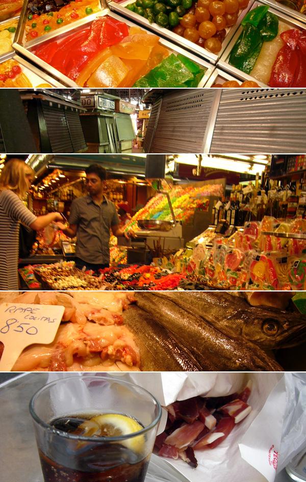 blog voyage australie espagne barcelone market marché boqueria food fish nourriture coca jambon ham proscuitto
