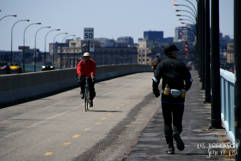blog pvt canada montreal couple voyage pont footing cycliste autoroute casino