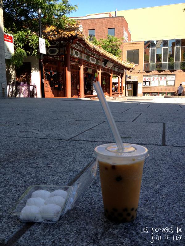 blog pvt canada montreal tour du monde voyage couple bubble tea chinatown barbe dragon