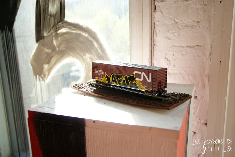 blog pvt canada montreal voyage espace frais peint lafuz wagon exposition street art
