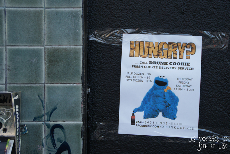 blog voyage canada montreal pvt photo insolite flyer affiche drole message streetart art cookie monster drunk munchies baked