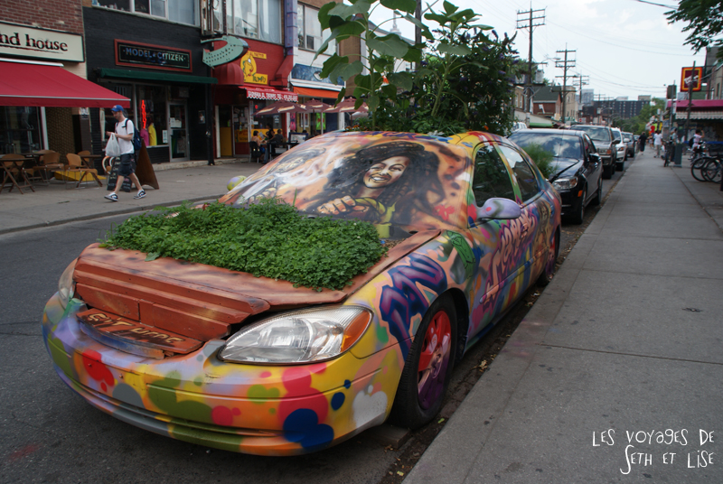 blog pvt whv canada toronto travel voyage kensigton chinatown couple voiture car ecolo green art