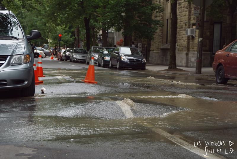 blog voyage canada montreal pvt couple tour monde photo road canalisation inondation