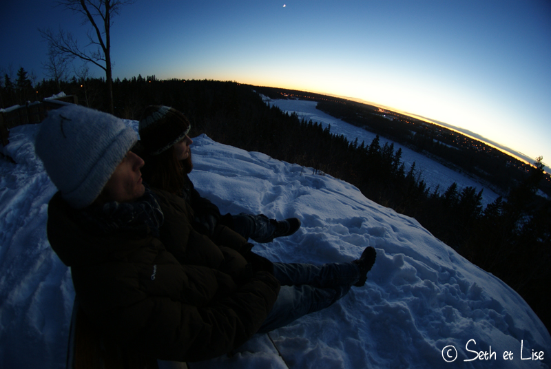 blog voyage canada photo pvt edmonton hiver river valley sunset couple love