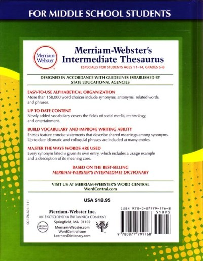 Preview Merriam-Webster's Intermediate Thesaurus (Grades 5-6) - Seton Educational Media