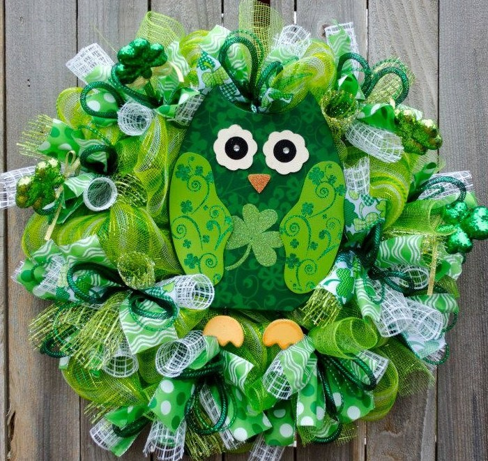 st patricks day owl wreath