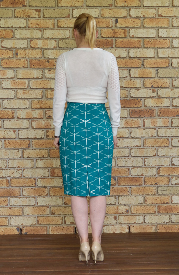 pencil skirt with a different of kick pleat sew