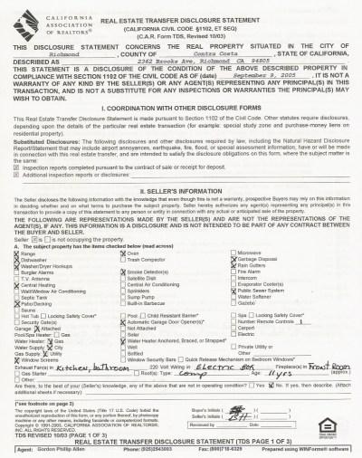 2362 Brooks Ave Seller Transfer Disclosure Statement
