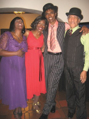 "Cast from ""Ain't Nothin But the Blues"": Michelle E. Jordan, C. Kelly Wright, Chic Street Man and ""Mississippi"" Charles Bevell. – Photo: Wanda Sabir"