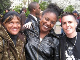 POWER was in the house! Central players from Day 1 in SLAM, Stop Lennar Action Movement, Alicia Schwartz (center) and Jaron Browne (right) of POWER (People Organized to Win Employment Rights) were the main brains behind Prop F that would have mandated 50 percent affordable housing. – Photo: Francisco Da Costa