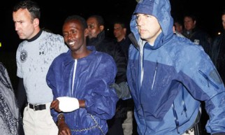 "Somali ""pirate"" Abduwali Abdukhadir Muse, 16, captured during the seizure of the Maersk Alabama, arrives in the U.S."