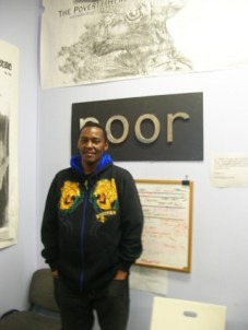 Byron Gafford at Poor Magazine headquarters