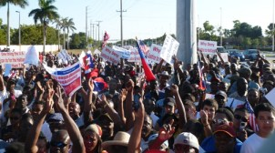 Haitians rally in Pompano Beach for TPS (Temporary Protected Status) instead of deportation for 30,000 of their countrymen. The remittances sent home to Haiti from the U.S. comprise nearly 30 percent of Haiti's economy. The NAACP is pressing President Obama to grant TPS.
